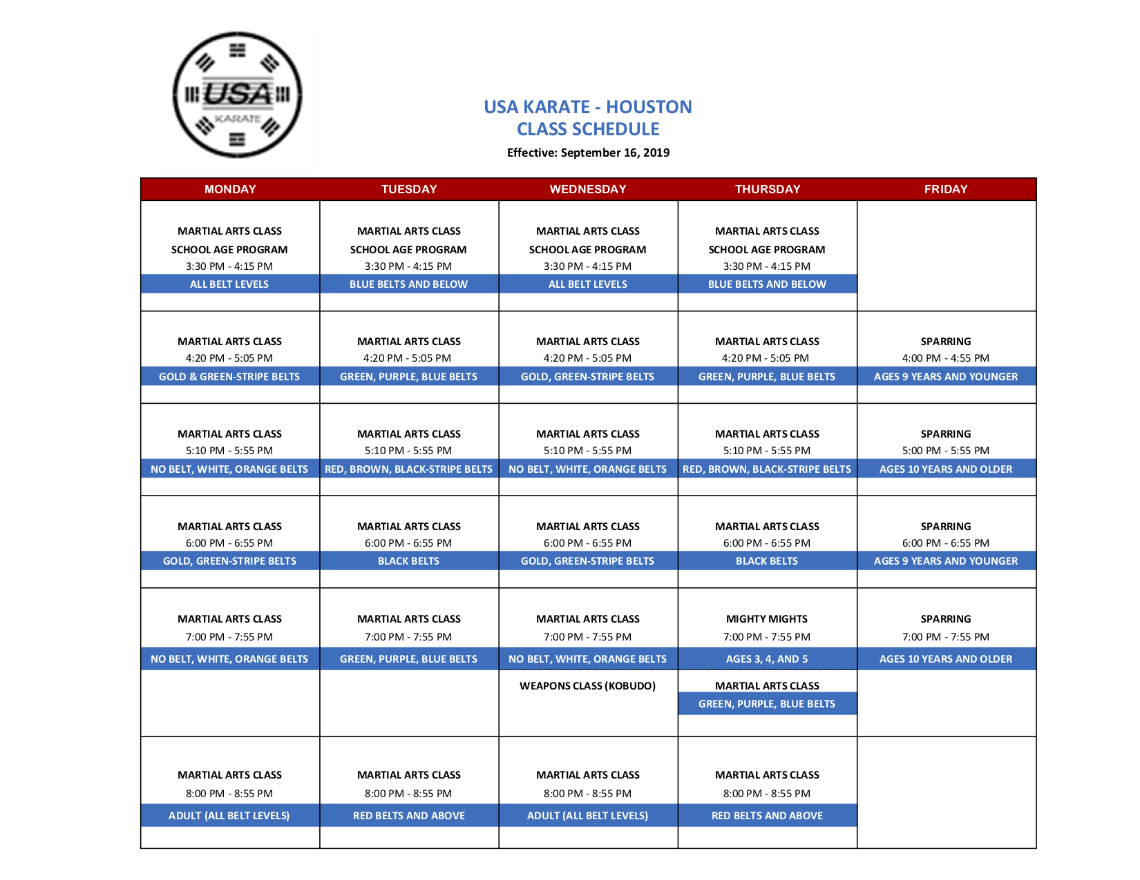 HOUSTON CLASS SCHEDULE (9-16-2019) - Sheet1